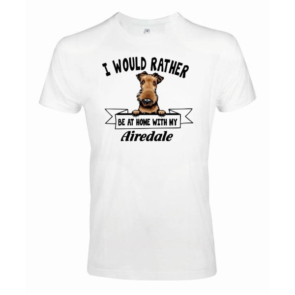 Airedale peeking dog t-shirt - Rather be with... White S