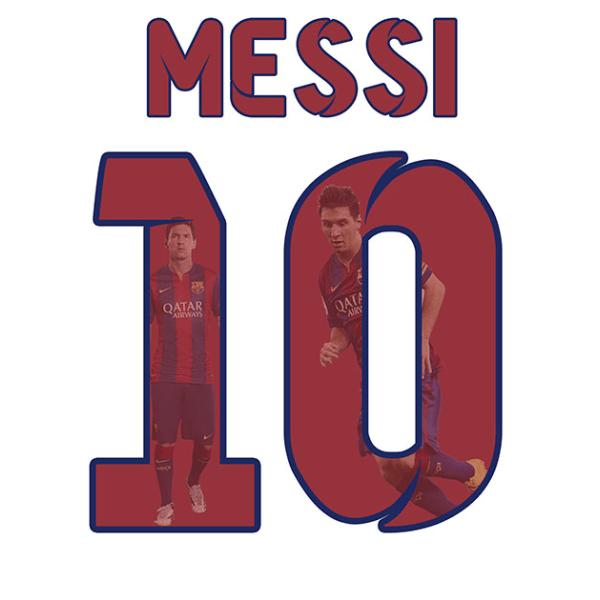 Barn T-shirt - Messi 10 - Barcelona - Tryck fram & bak 160cl