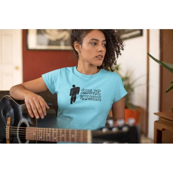 Billie Eilish dam t-shirt - flera färger  Ljus blå T-shirt - Large