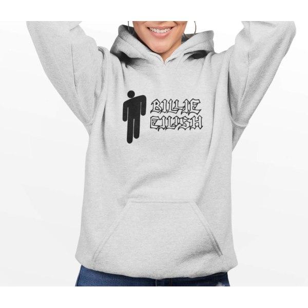 Billie Eilish grå huvtröja sweatshirt tröja t-shirt logo 140cl 9-11år