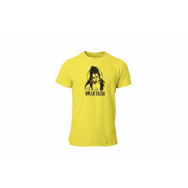 Billie Eilish t-shirt i gul - Cutout design unisex 11-12år 152cl