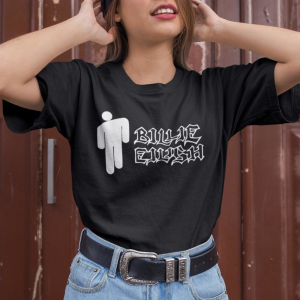 Billie Eilish t-shirt - Svart med man text logo 152cl 12-13år