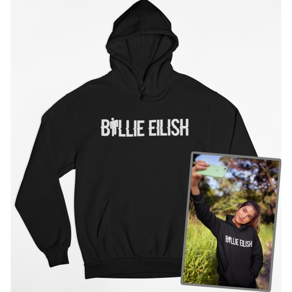 Billie Eilish text svart Hoodie huvtröja sweatshirt t-shirt Small