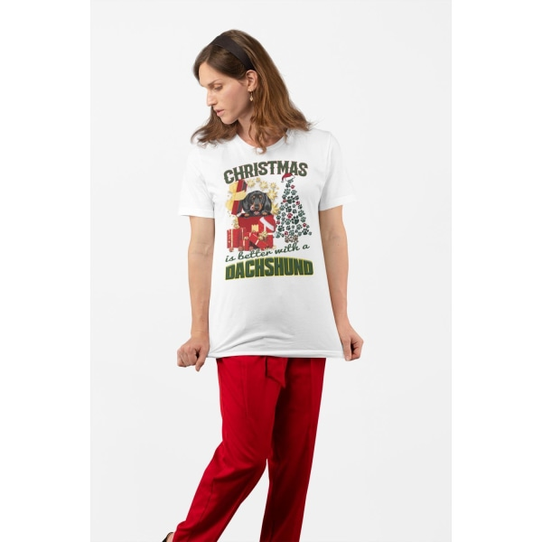 Dachshund t-shirt Jul hund t-shirt christmas jumpers stil tax White L