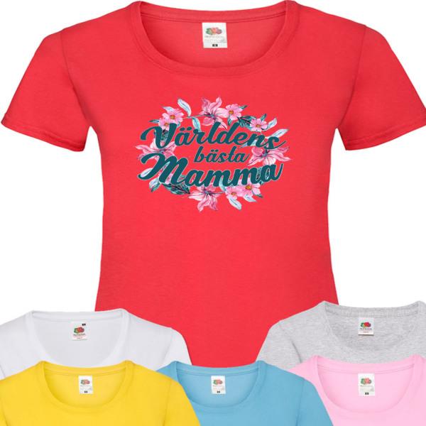Dam mamma t-shirt - flera färger  Röd T-shirt - Medium