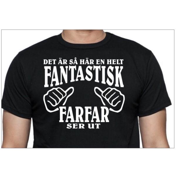Farfar T-shirt , Svart -  hur en fantastisk Farfar ser ut XXL