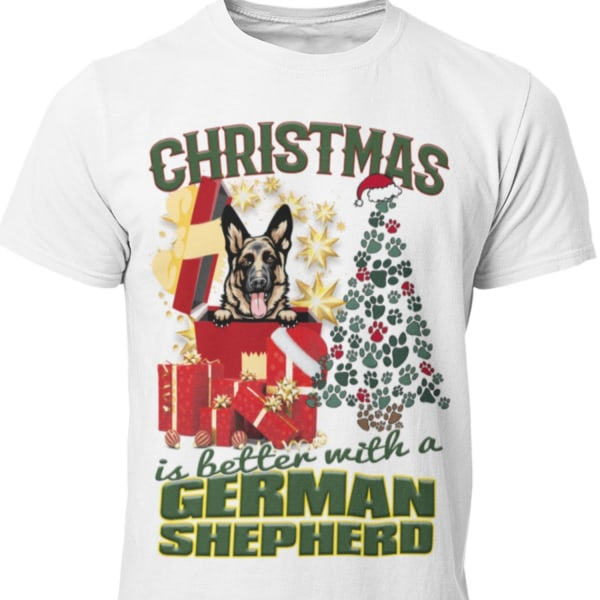 German Shepherd Jul  hund  schäfer t-shirt  White L