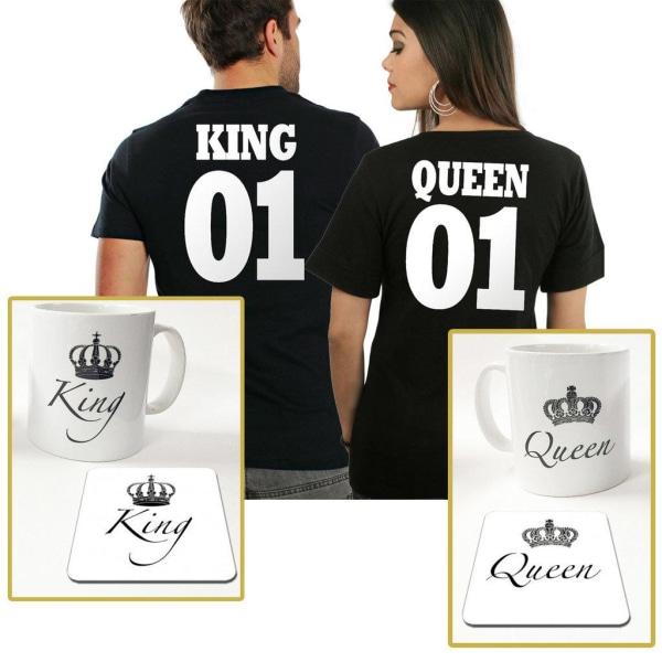 King eller Queen paket med t-shirt + mugg & underlägg paket Queen T-shirt XL & Queen mugg + Unde