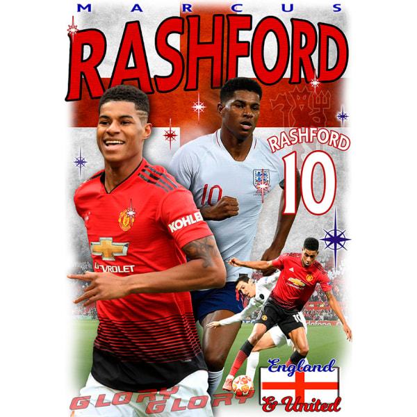 Rashford Man. Utd spelare t-shirt - polyester sports tröja 10 140cl 9-11�r