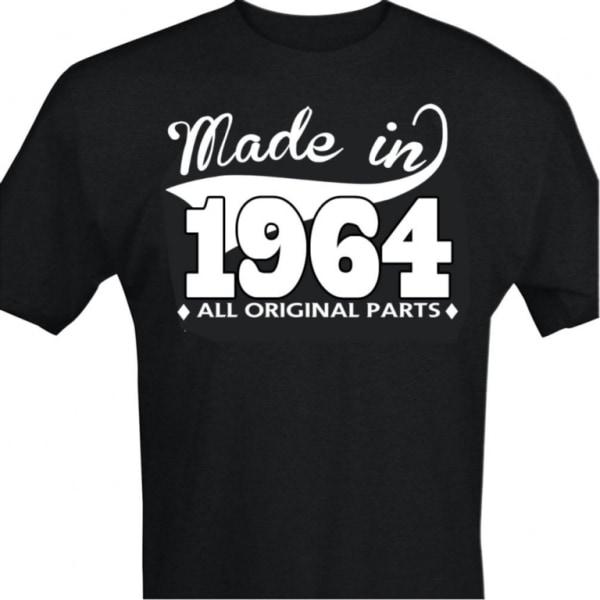 Svart T-shirt med design - Made in 1964 - All original parts S