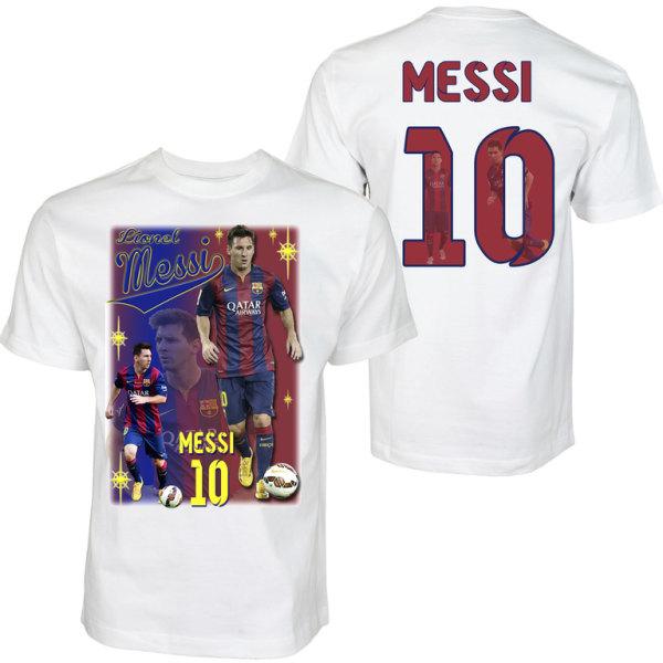 T-shirt - Messi 10 - Barcelona - Tryck fram & bak Medium