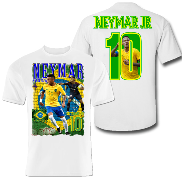 T-shirt Neymar Brasil & Paris med tryck fram & bak L
