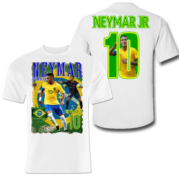 T-shirt Neymar Brasil & Paris med tryck fram & bak S