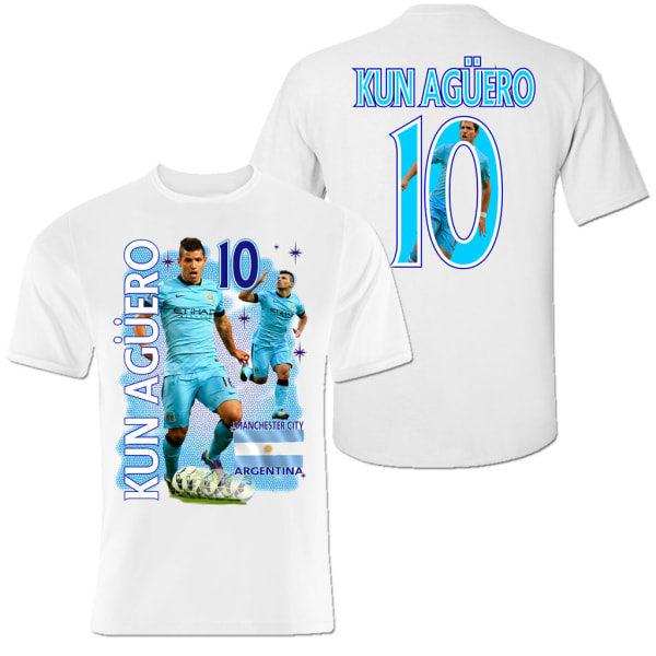 Tshirt med Kun Aguero Manchester City  & Argentina  - Tryck fram & bak  M