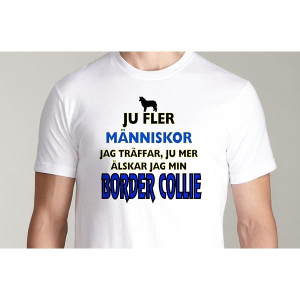 Vit T-shirt  - Border collie hund tröja L