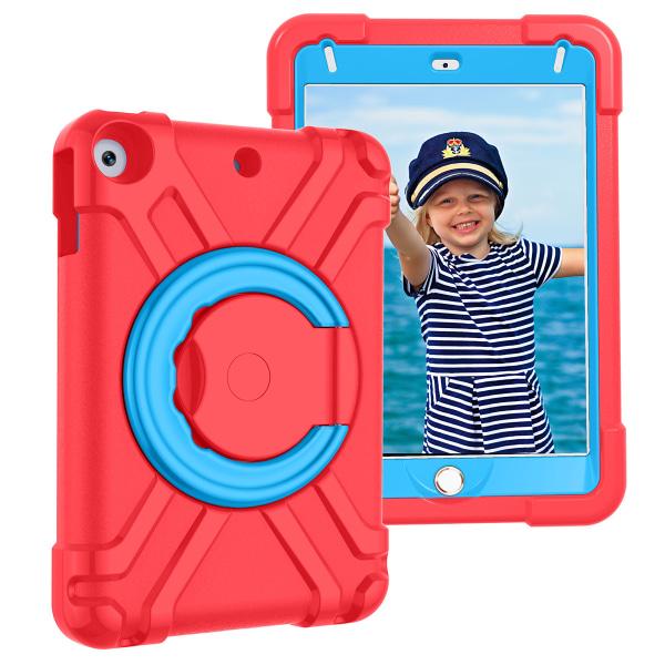 Barnfodral med roterbart ställ, iPad Mini 5, röd/blå