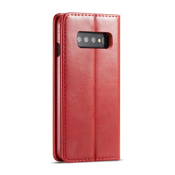 CaseMe Crazy Horse fodral, ställ, Samsung Galaxy S10 Plus röd