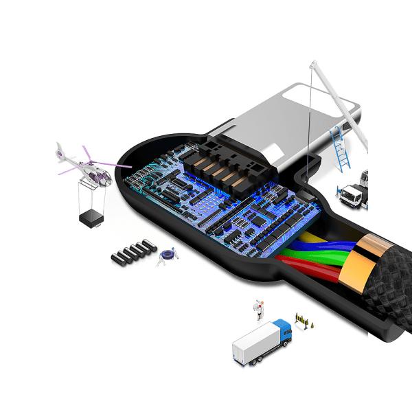 McDodo CA-4673 Vinklad Lightning kabel, LED, 2A, 1.8m, svart