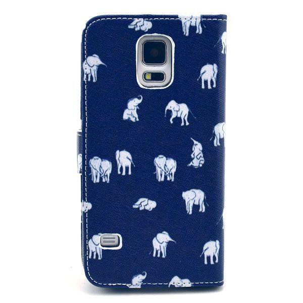 Plånboksfodral med ställ till Samsung Galaxy S5, elefanter blå