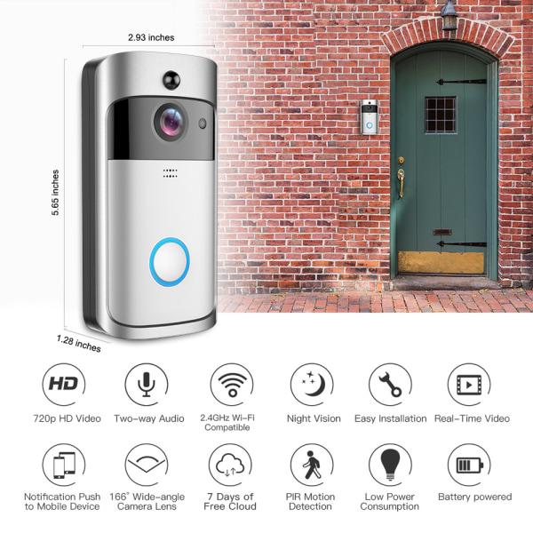 Smart visuell dörrklocka med rörelsedetektor, silver
