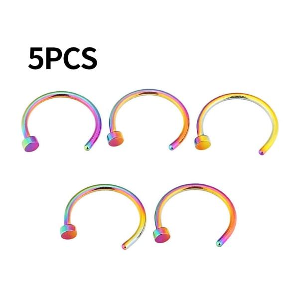 5st 6mm Unisex Simple Design Nose Ring Pin Hook Nasal Smycken