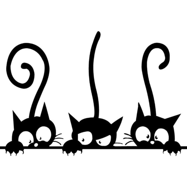 Adhesive Cute Cartoon Cat Wall Stickers Decals Home DIY Decors as the picture