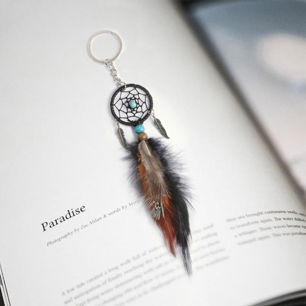 Dream Catcher Keychain Wind Chime Pendant Hanging Decor Key Ring