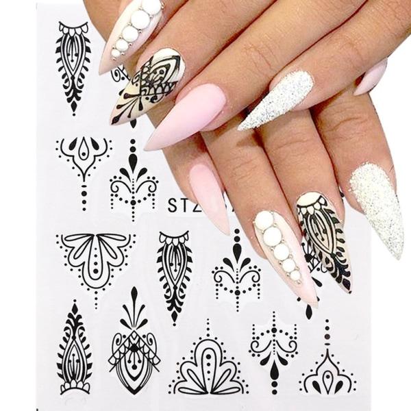 Flower nail sticker 3D Manicure Nail Art Decor Wraps 8pcs