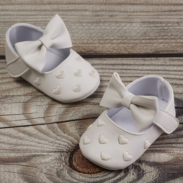 Girls Bowknot Non-Slip Soft Sole Newborn Shoes as the picture