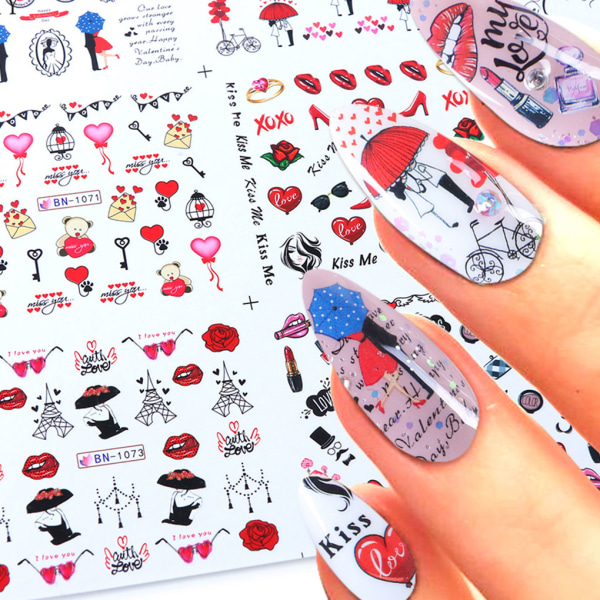 Lip Heart Decal Cartoon Nail Art Transfer Sticker Wraps Decals as the picture