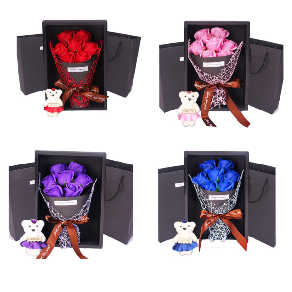 Romantic Valentine's Day Bear Rose Flowers Gift Box Decoration red
