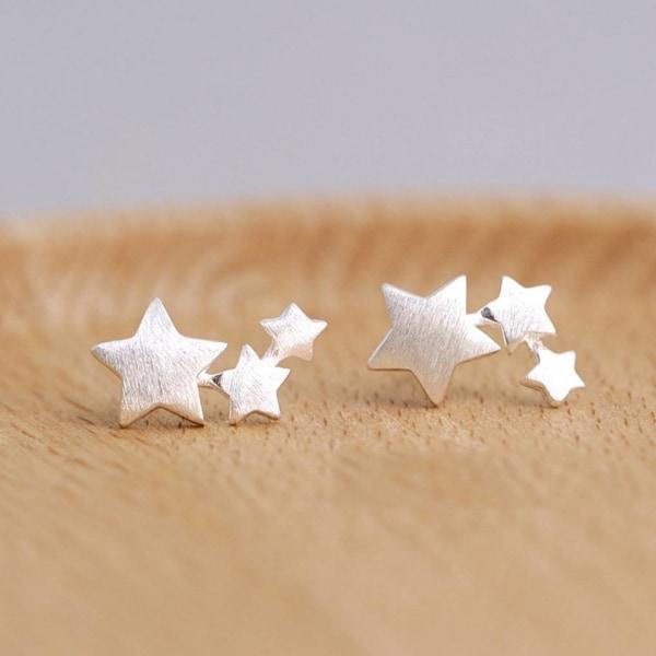 S925 Pin Ear Ear Anti-Allergy silver star ear stud