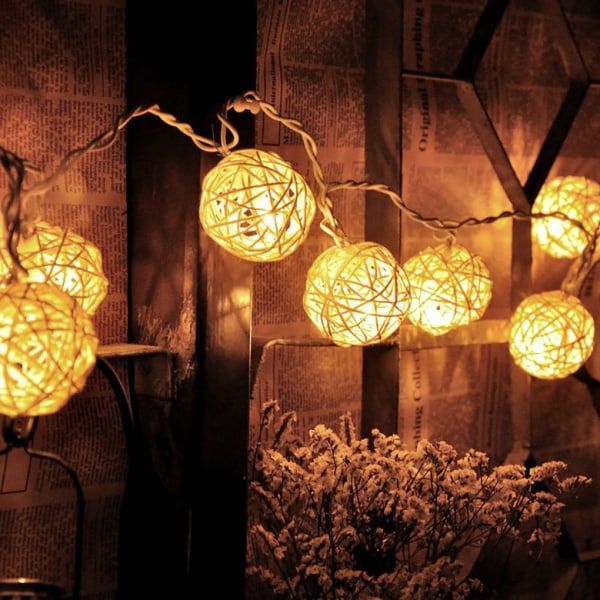 USB Rattan Ball Housing Flexible LED String Party Lamp Decor Warm White Light