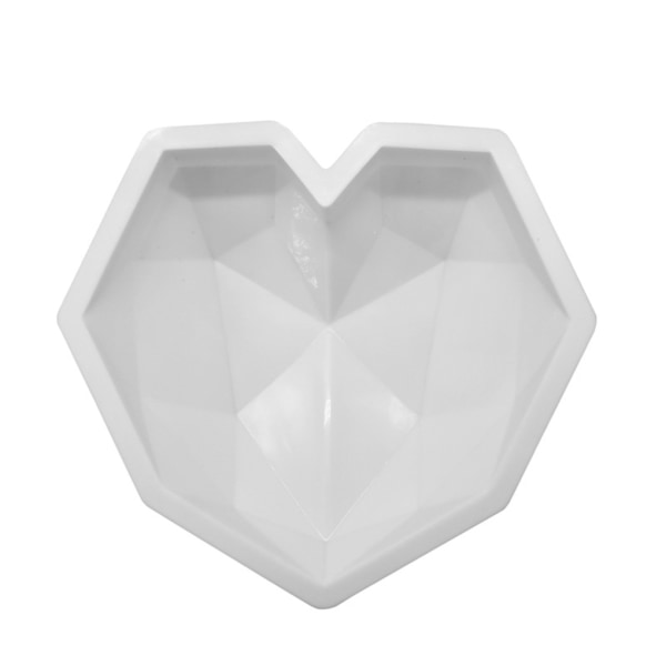 White Geometric Heart Shape Silicone Mousse Mold Cake Mould as the picture
