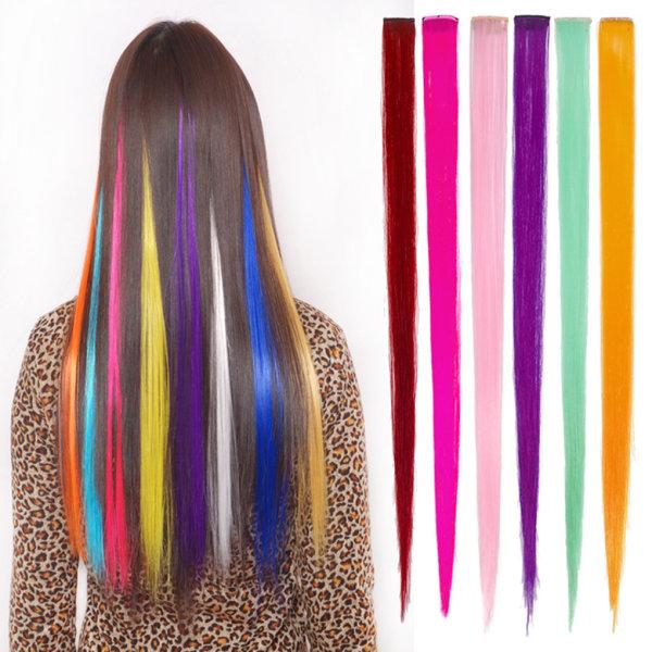 Kvinnor långt rakt falskt hår Fiber Density Wig Clip Patch Hair