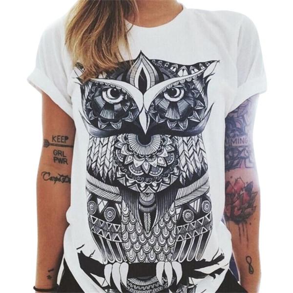 Kvinnor Print Lös Enfärgad Rund Hals Kortärmad T-shirt