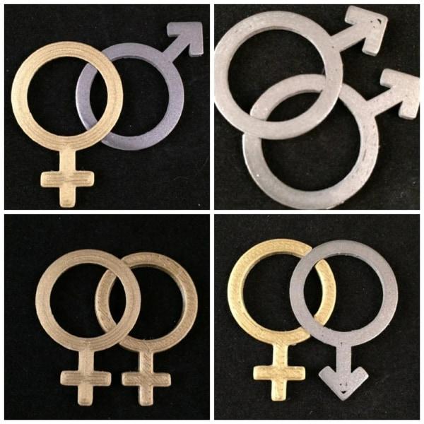Marriage Symbols - Interlocking (him,her,gay,lesbian,lgbt) 1pare MultiColor L
