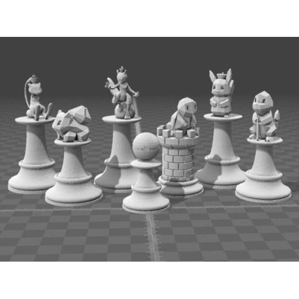 Pokemon schack / Pokemon chess 16st, LARGE, HELA 29CM (Färg:Oran