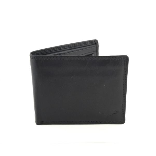 Mindre plånbok i äkta läder, svenskt passform Svart one size
