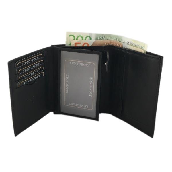 Rymlig plånbok för herr i skinn med 12 kortfack Svart one size