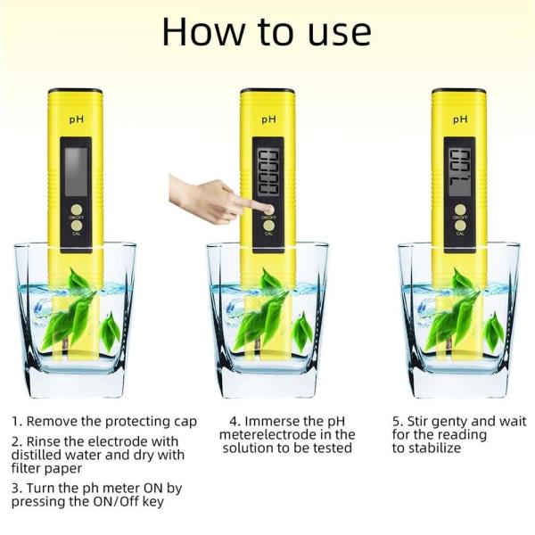 Digital pH mätare för vatten Kompakt  Gul one size