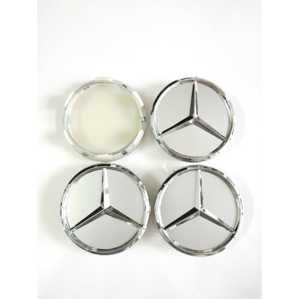 MB37 - 60MM 4-pack Centrumkåpor Mercedes Benz chrome  Silver one size