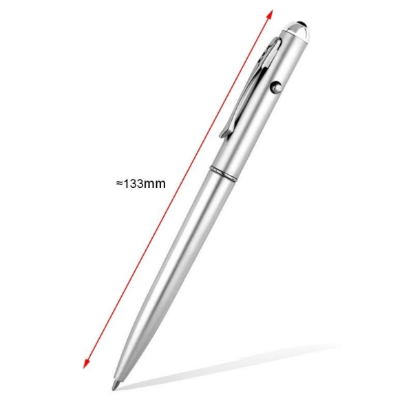 Osynlig bläckpenna med UV Ljus Sedeldetektor Silver one size