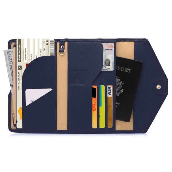 RFID Skydd - Blå Resa plånbok Passfodral  Blå one size