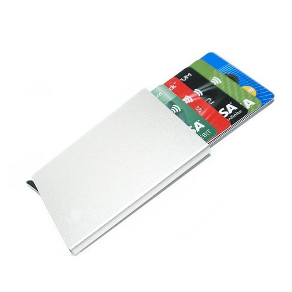 Silver korthållare skjuter Fram 5 kort - RFID säker Silver one size