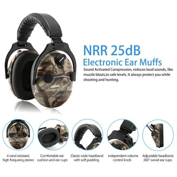 Svart Aktiva hörselskydd Aktiv brusreducering 4X Mikrofon  Svart one size
