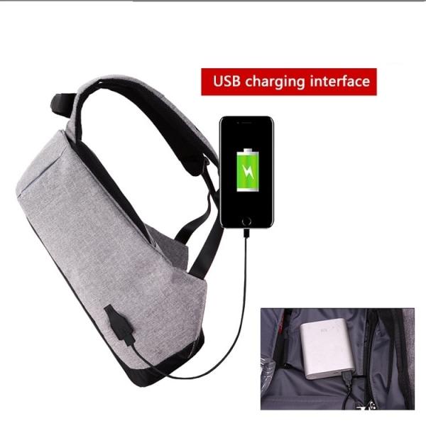 Anti Stöld Axelremsväska med USB laddning Svart | eStore