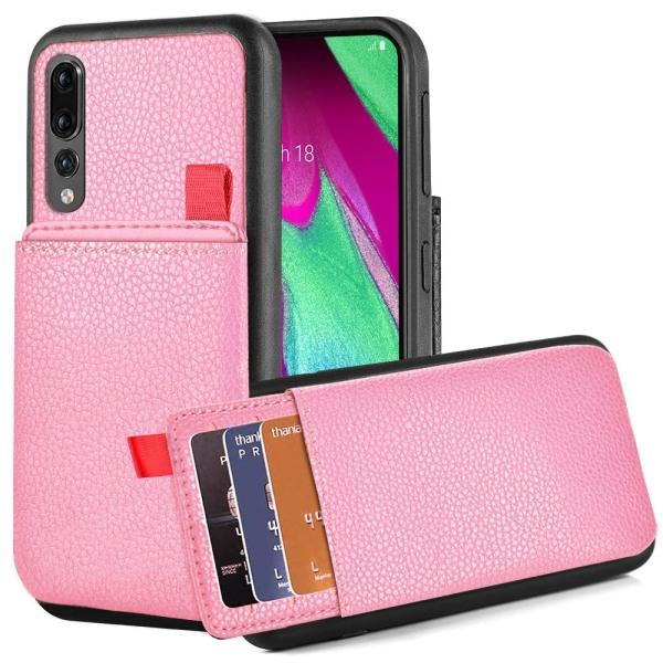 Huawei P20 Pro - Skal med Dolt Kortfack / Korthållare - Rosa Rosa
