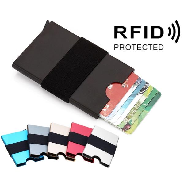 Korthållare 7 kort - Plånbok i Aluminium - RFID-skydd Svart