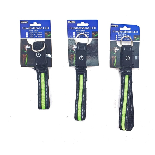 LED Hundhalsband / Halsband för Hund m. Reflex - Flera storlekar L
